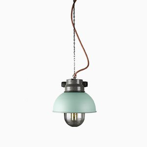Vintage Mint Small Industrial Pendant Lamp from TEP