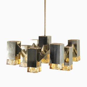 Vintage Cubic 9-Light Ceiling Lamp by Gaetano Sciolari, 1970s