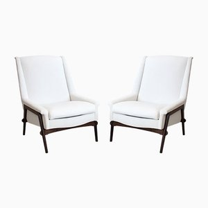 White Armchairs with Stained Oak Frame, 1950s, Set of 2