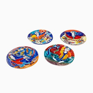 Small Colorful Plates by De Simone Ceramics, 1980s Set of 4
