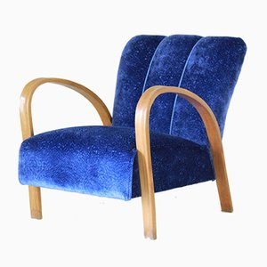Art Deco Blue Velvet Lounge Chair, 1940s