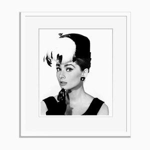 Audrey Hepburn Breakfast at Tiffany's' Archival Pigment Print Framed in White by Everett Collection