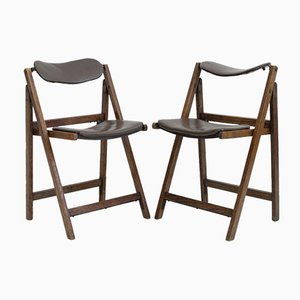 Brown Folding Chairs with Oak Frame, 1960s, Set of 2