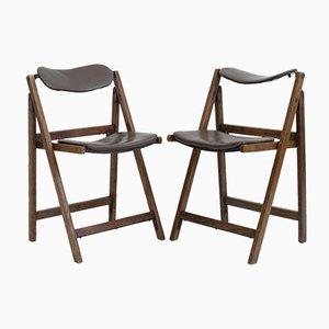 Sedie pieghevoli marroni con struttura in quercia, anni '60, set di 2