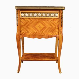 French Rosewood, Gilded Brass & Painted Ceramic Side Table, 1960s
