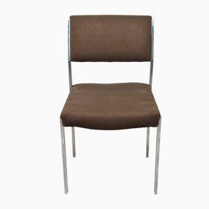 Italian Fabric Seat & Backrest Chairs with Steel Frame, 1970s, Set of 4