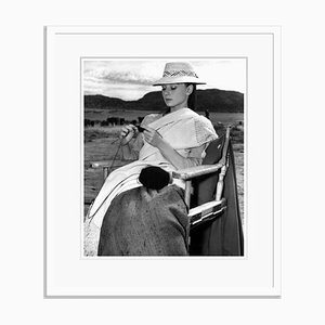 Hepburn Knitting in Mexico Archival Pigment Print Framed in White by Everett Collection