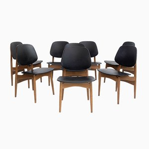 Black Faux Leather and Wood Dining Chairs from La Permanente Mobili Cantù, 1950s, Set of 8