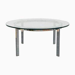 Tavolino da caffè in vetro e placcato in cromo, anni '70