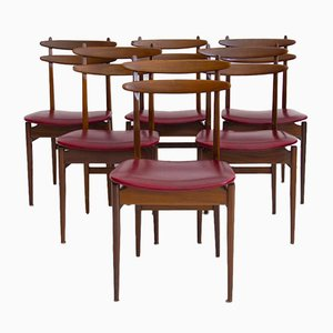 Wooden Dining Chairs with Burgundy Seats from Amma, 1950s, Set of 6