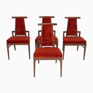 Sedie da pranzo in legno e velluto di James Mont, anni '50, set di 4