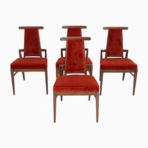 Wood and Velvet Dining Chairs by James Mont, 1950s, Set of 4