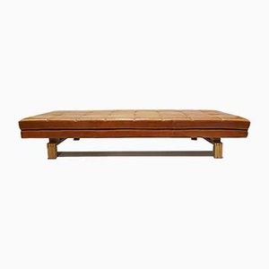 Mid-Century Danish Cognac Leather & Oak Daybed with Floating Design, 1960s