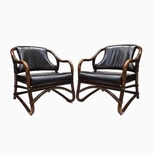 Vintage Black Leather & Cane Easy Chairs Attributed to Rohé Noordwolde, 1960s, Set of 2