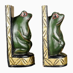 Vintage Handmade Wooden Frog Bookends, Set of 2