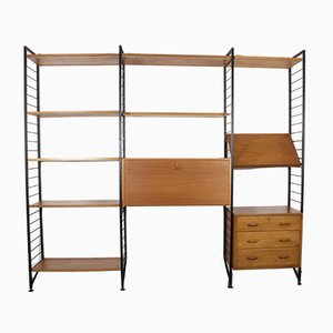 Vintage Ladderax Teak & Metal Three-Bay Shelving Storage Unit with Desk & Drawer by Robert Heal for Staples, UK 1960s