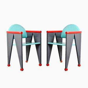 Sedie da pranzo o laterali in legno nello stile del movimento De Stijl, Paesi Bassi, anni '60, set di 2