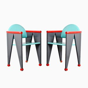 Wooden Dining or Side Chairs in the Style of the De Stijl Movement, Netherlands, 1960s, Set of 2