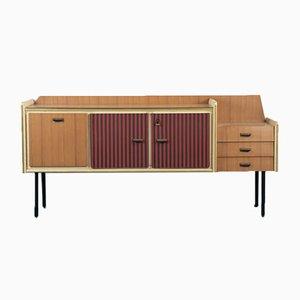Juego de aparador, mesa de comedor y sillas vintage, años 70. Juego de 6