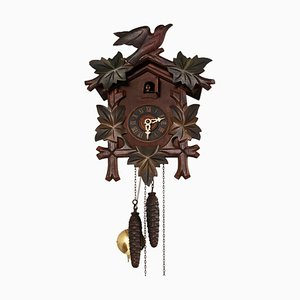 Carved Wood Black Forest Cuckoo Clock with Birds, 1930s