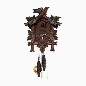 Orologio a cucù in legno di camoscio con uccelli, anni '30