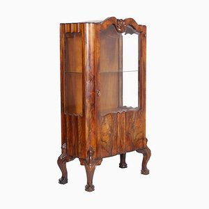 Antique Venetian Chippendale Walnut and Burl Walnut Vitrine Display Cabinet