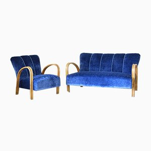 Vintage Art Deco Sofa & Armchair, 1940s, Set of 2
