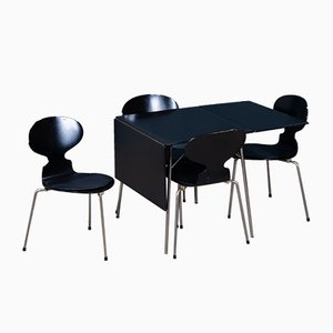 Mid-Century Model No. 3601 Foldable Dining Table & Chairs Set by Arne Jacobsen for Fritz Hansen, Set of 5