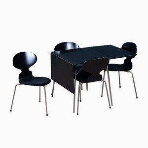 Mid-Century Modell Nr. 3601 Klappbarer Esstisch & Stühle von Arne Jacobsen für Fritz Hansen, 5er Set