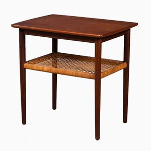 Mid-Century Danish Teak Side Table with Cane Shelf, 1960s