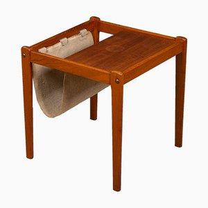 Revistero Mid-Century de teca y lona de Brdr. Furbo para Spøttrup, años 60
