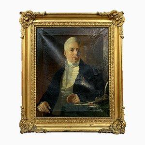 Große Italienische Schule Öl auf Leinwand Portrait of Writing Notable Person, 1800