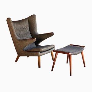 Danish AP19 Papa Bear Chair & AP29 Ottoman by Hans J. Wegner for A.P. Stolen, 1959, Set of 2