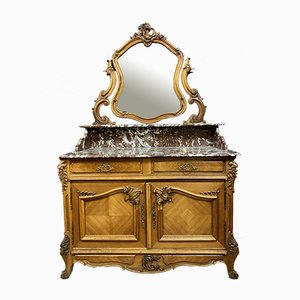 Louis XV Rocaille Blond Walnut Chest of Drawers with Doors