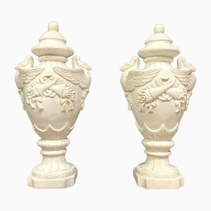 Empire Cassolettes with Winged Swans in Carrara Marble, Set of 2
