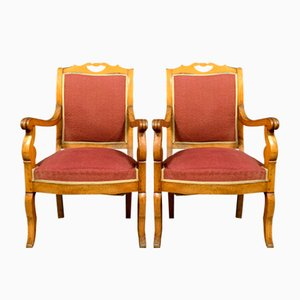 Charles X Light Wood Armchairs, Set of 2