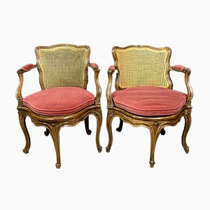Louis XV Lounge Armchairs, Set of 2