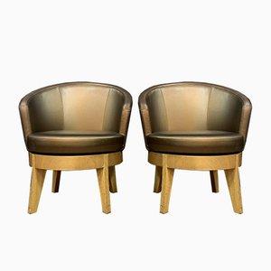 Antike runde Armlehnstühle mit runden Sitzen im Stil von Jules Leleu, 2er Set