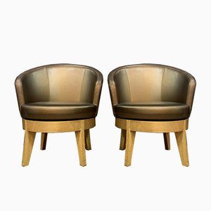 Antique Barrel Type Armchairs with Circular Seats in the Style of Jules Leleu, Set of 2