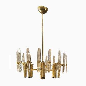 Lámparas colgantes de latón lacado y cristal de Gaetano Sciolari, años 70. Juego de 2