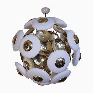 Mid-Century Murano Glass & Brass Round Chandelier, 1970s