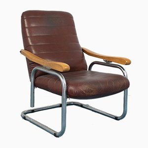 Vintage Leather Reclining Chair in the Style of Thonet, 1960s