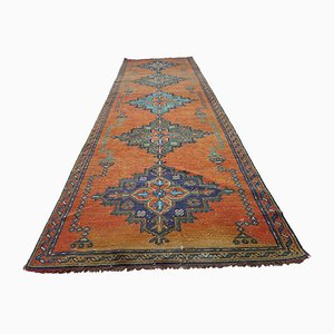 Distressed Orange Oushak Runner Rug with Faded Colors, 1970s