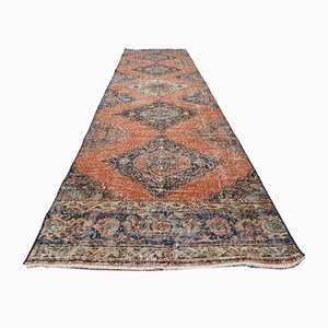 Vintage Turkish Faded Long Distressed Oushak Runner with Traditional Modern Style, 1970s