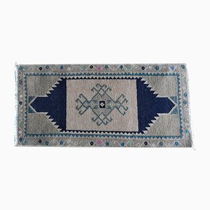 Small Turkish Traditional Handmade Distressed Door Mat, 1970s