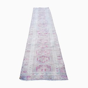 Vintage Turkish Long Distressed Oushak Runner with Traditional Modern Style, 1970s