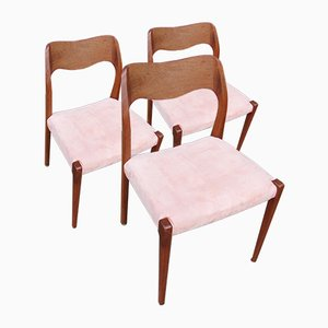 Model 71 Dining Chairs by Niels Otto Møller for J.L. Møllers, 1950s, Set of 3