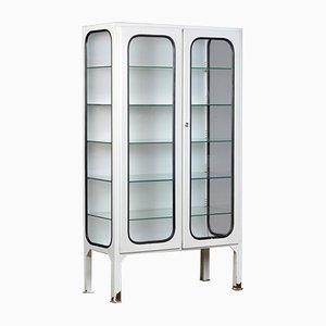 Vintage Glass & Iron Medical Cabinet, 1970s