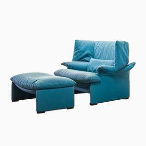 Portovenere Lounge Chair & Ottoman by Vico Magistretti for Cassina, 1980s, Set of 2