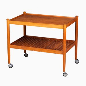 Mid-Century Danish Teak Rolling Serving Cart, 1960s